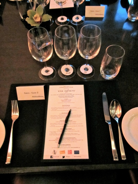 Menu pairings and score card