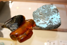 Samples of amber and larimar.