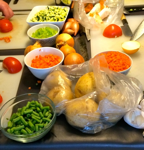 Our ingredients, all chopped and ready for assembly.