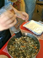 Seasoning the rice dish